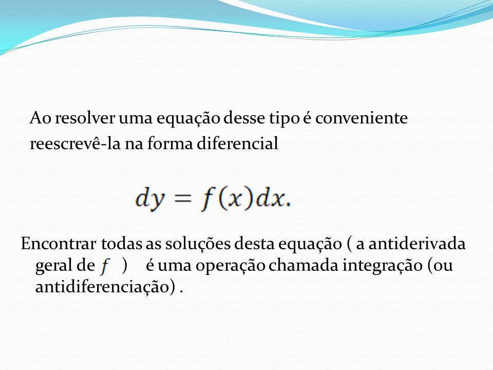 Ela é representada pelo sinal de integral A solução geral de É denotada por