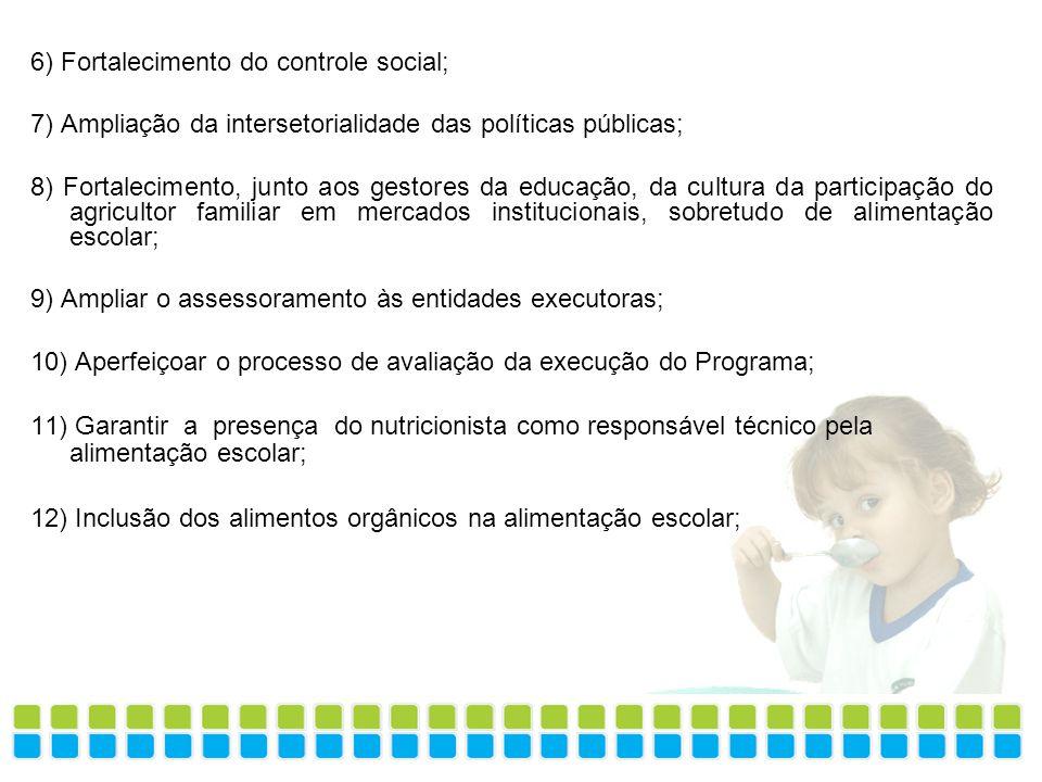 6) Fortalecimento do controle social; 7) Ampliação da intersetorialidade das políticas públicas; 8) Fortalecimento, junto aos gestores da educação, da