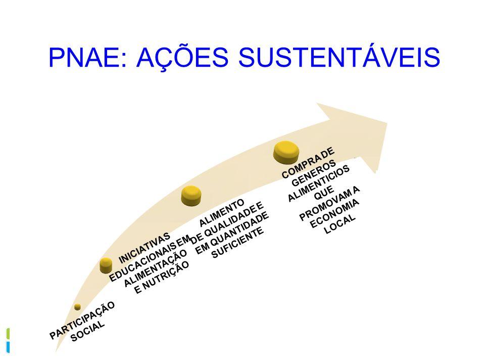 PNAE: AÇÕES SUSTENTÁVEIS INICIATIVAS EDUCACIONAIS EM ALIMENTAÇÃO E NUTRIÇÃO ALIMENTO DE QUALIDADE E EM QUANTIDADE SUFICIENTE COMPRA DE GENEROS ALIMENT