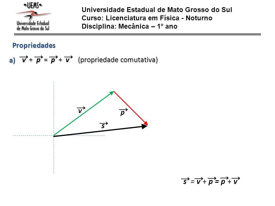 v Universidade Estadual de Mato Grosso do Sul Curso: Licenciatura em Física - Noturno Disciplina: Mecânica – 1° ano Propriedades v + p = p + v (propri