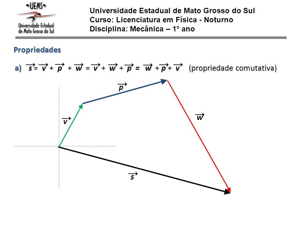 Universidade Estadual de Mato Grosso do Sul Curso: Licenciatura em Física - Noturno Disciplina: Mecânica – 1° ano v w p Propriedades s = v + p + w = v