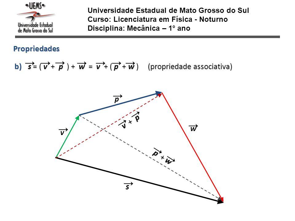 Universidade Estadual de Mato Grosso do Sul Curso: Licenciatura em Física - Noturno Disciplina: Mecânica – 1° ano Propriedades s = ( v + p ) + w = v +