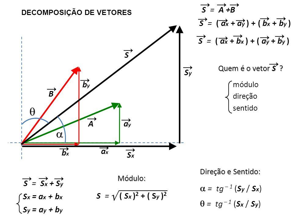 DECOMPOSIÇÃO DE VETORES B A axax ayay bxbx byby S = S x + S y S Quem é o vetor S ? módulo direção sentido S x = a x + b x S y = a y + b y S = ( S x )