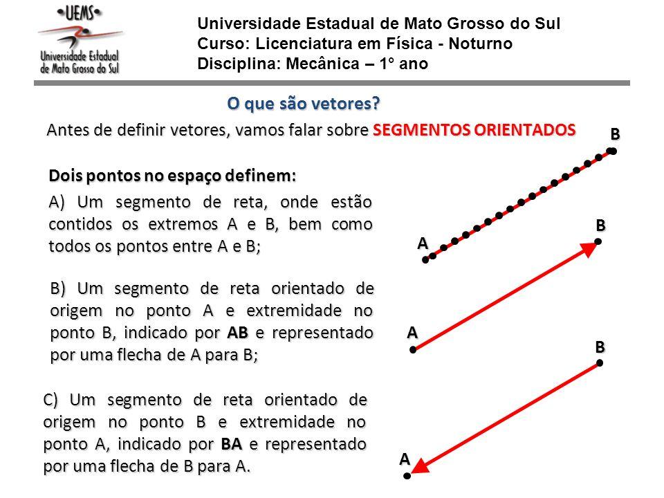 Universidade Estadual de Mato Grosso do Sul Curso: Licenciatura em Física - Noturno Disciplina: Mecânica – 1° ano O que são vetores? Antes de definir
