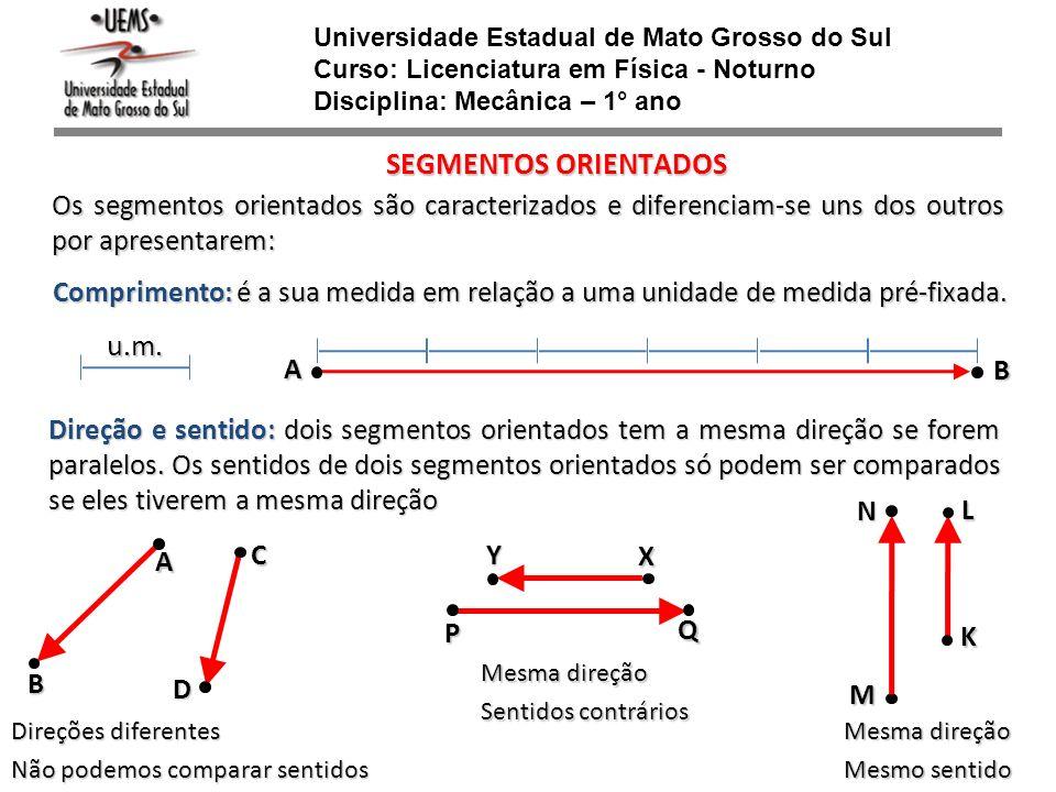 Universidade Estadual de Mato Grosso do Sul Curso: Licenciatura em Física - Noturno Disciplina: Mecânica – 1° ano SEGMENTOS ORIENTADOS Os segmentos or