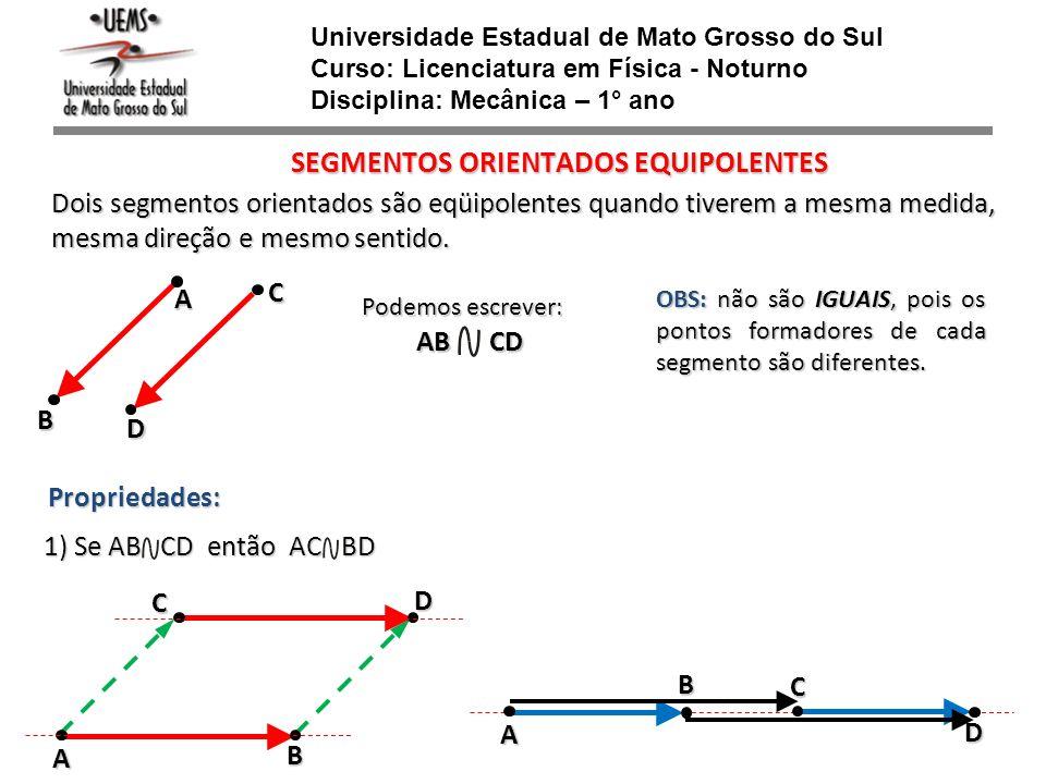 Universidade Estadual de Mato Grosso do Sul Curso: Licenciatura em Física - Noturno Disciplina: Mecânica – 1° ano SEGMENTOS ORIENTADOS EQUIPOLENTES Do