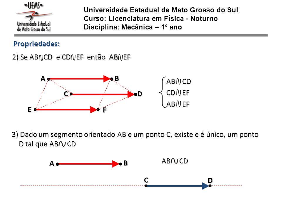 Propriedades: E B A Universidade Estadual de Mato Grosso do Sul Curso: Licenciatura em Física - Noturno Disciplina: Mecânica – 1° ano CD F 2) Se AB CD
