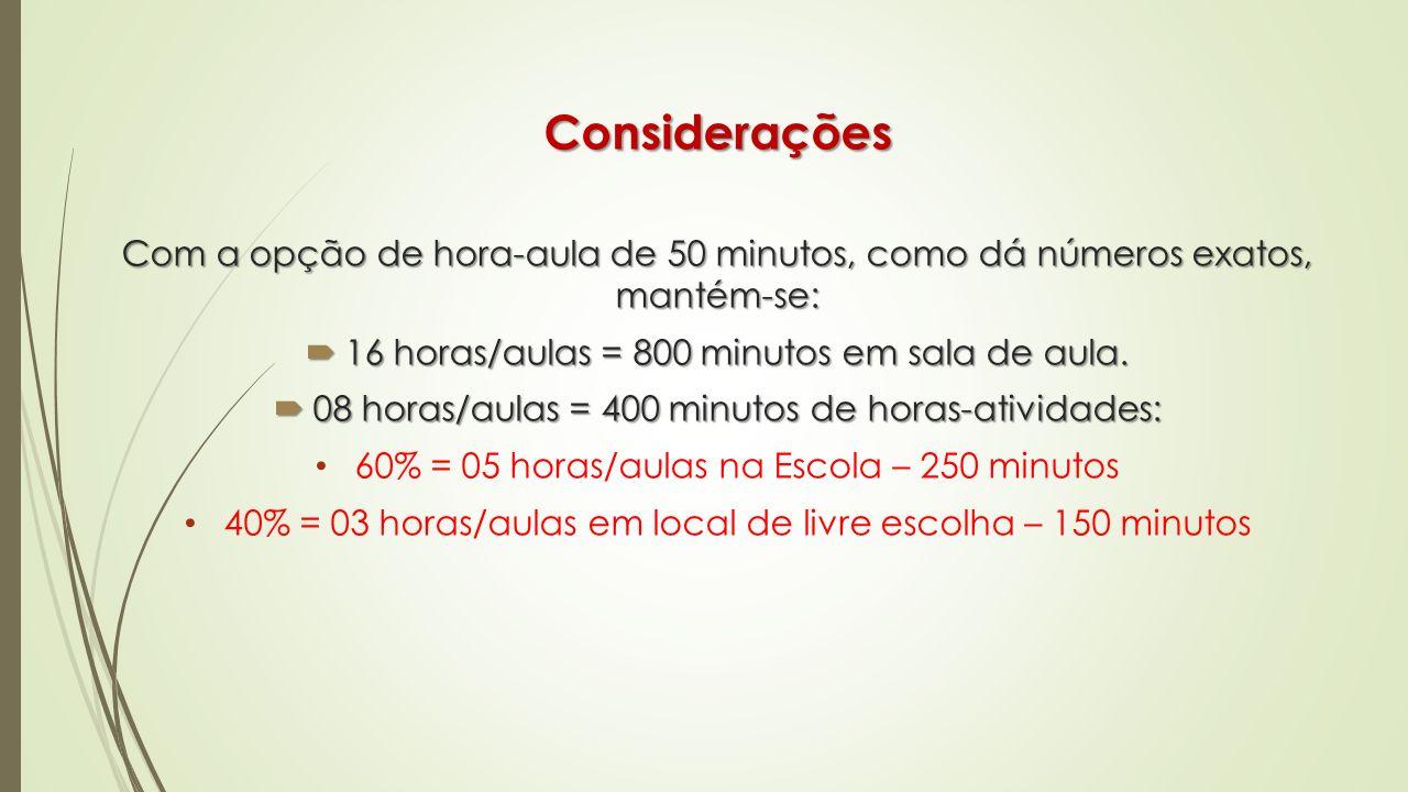 Considerações Com a opção de hora-aula de 50 minutos, como dá números exatos, mantém-se: 16 horas/aulas = 800 minutos em sala de aula. 16 horas/aulas