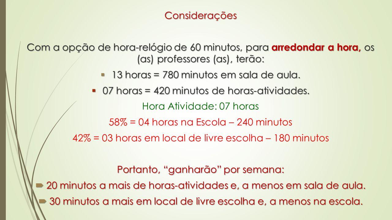 Considerações Com a opção de hora-relógio de 60 minutos, para arredondar a hora, os (as) professores (as), terão: 13 horas = 780 minutos em sala de au