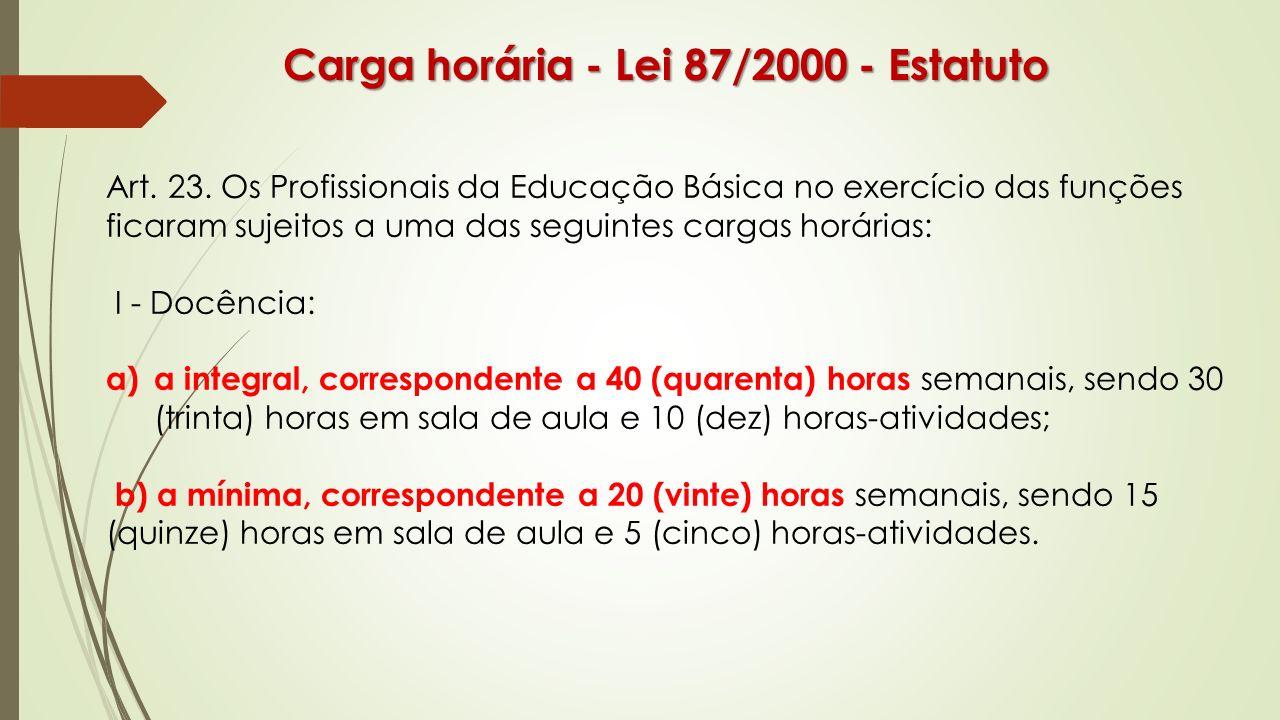 Carga horária - Lei 87/2000 - Estatuto Art. 23. Os Profissionais da Educação Básica no exercício das funções ficaram sujeitos a uma das seguintes carg