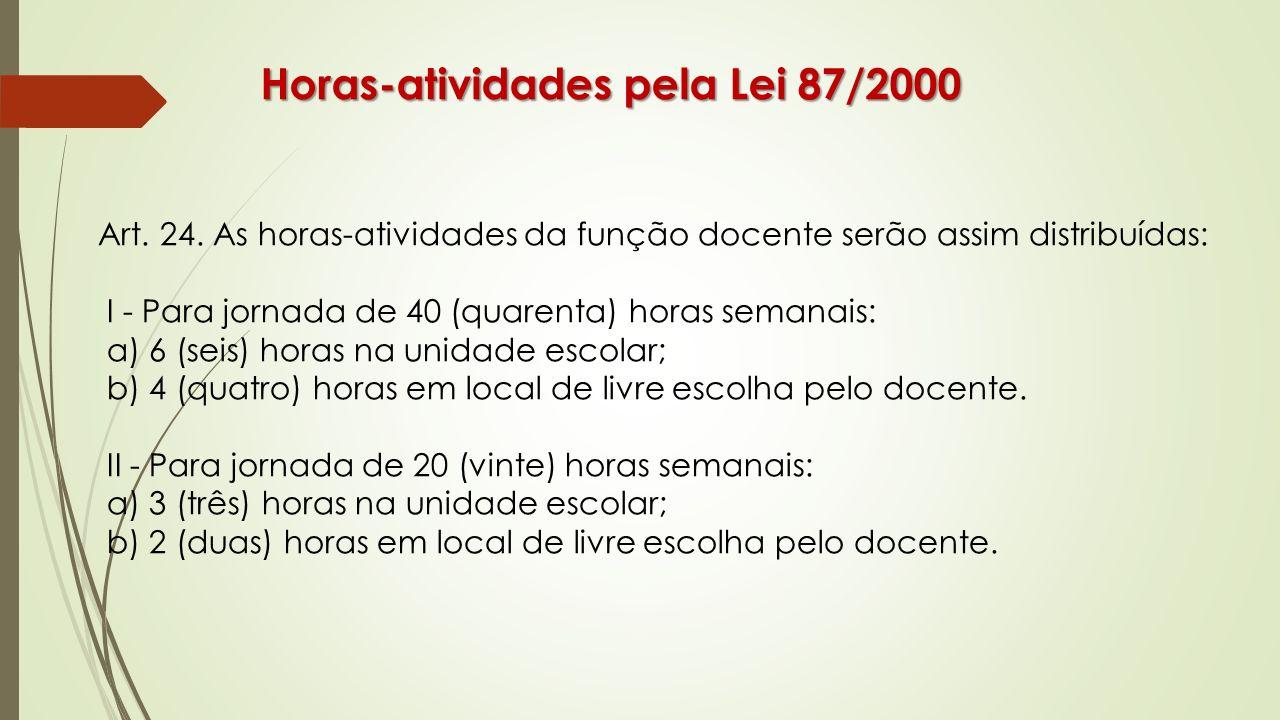 Horas-atividades pela Lei 87/2000 Art. 24. As horas-atividades da função docente serão assim distribuídas: I - Para jornada de 40 (quarenta) horas sem