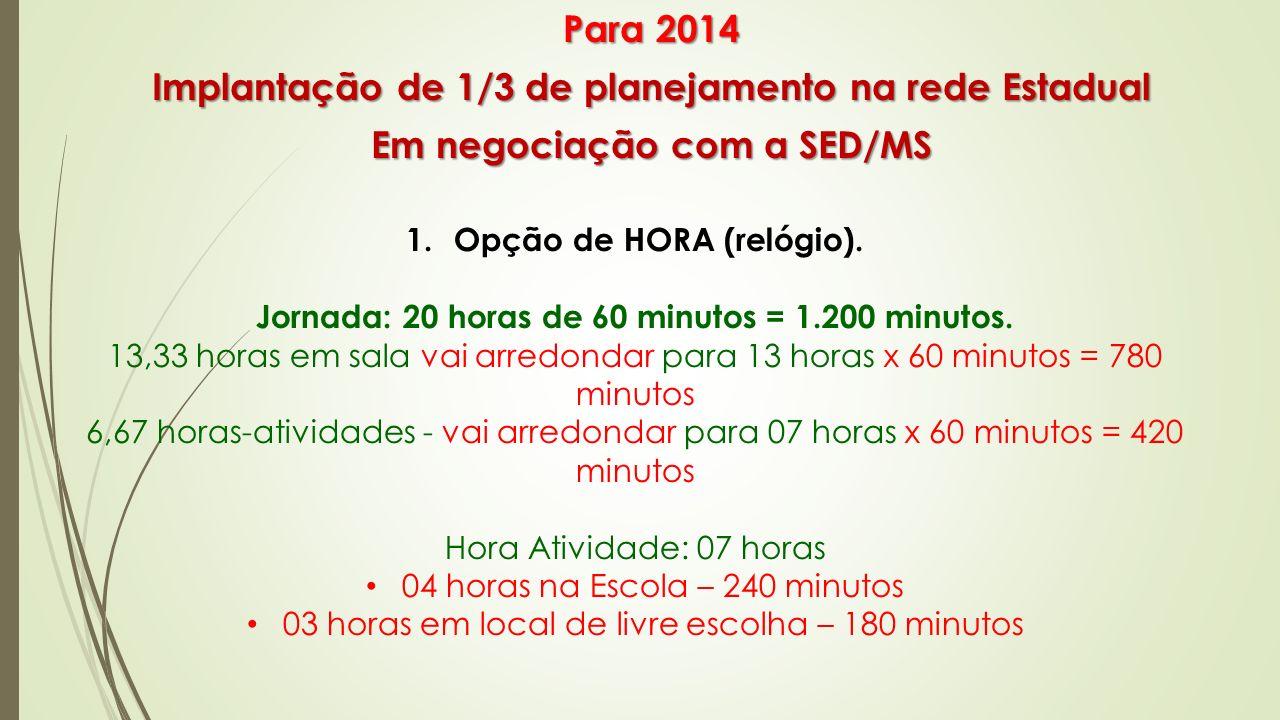 2.Opção de HORA-AULA Jornada: 24 horas-aulas de 50 minutos = 1.200 minutos.