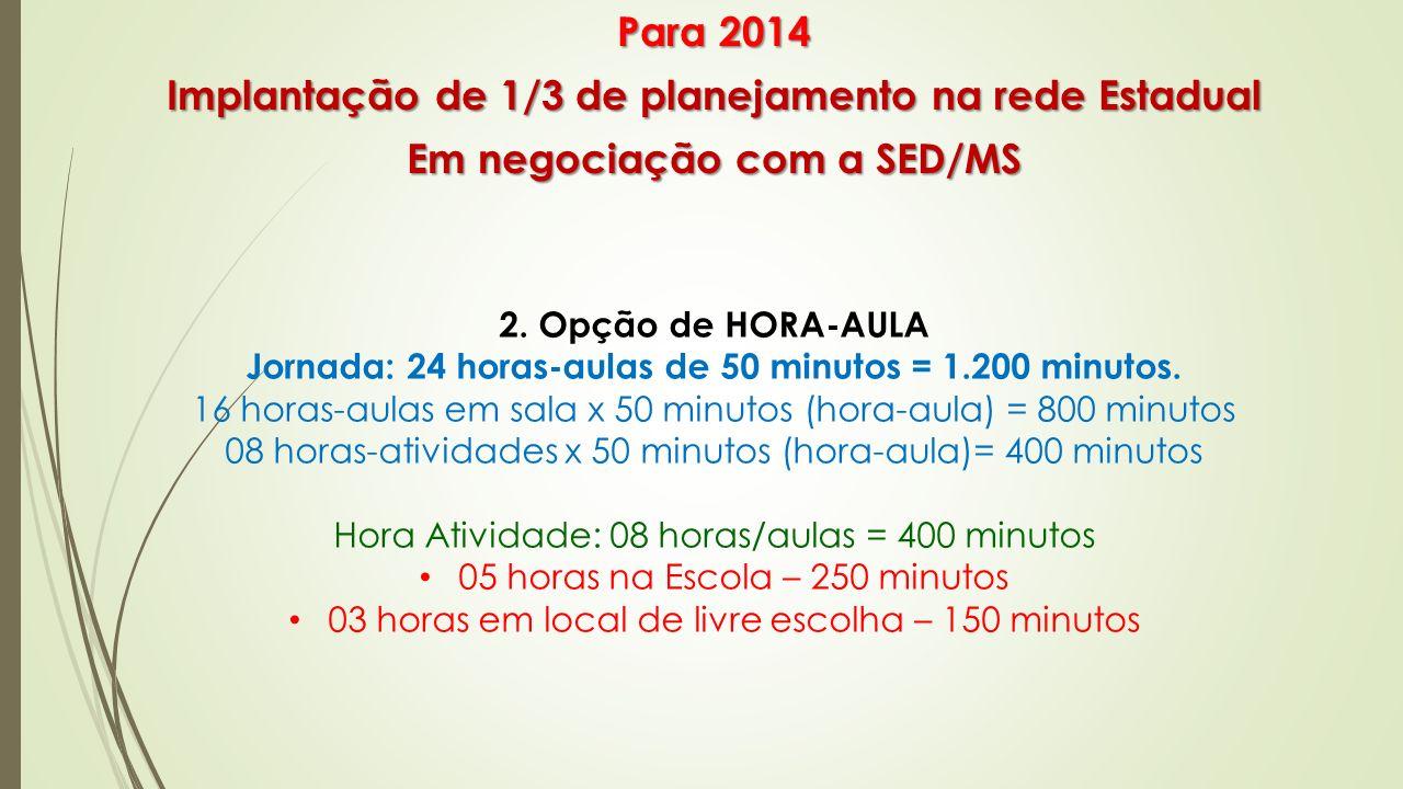 2. Opção de HORA-AULA Jornada: 24 horas-aulas de 50 minutos = 1.200 minutos. 16 horas-aulas em sala x 50 minutos (hora-aula) = 800 minutos 08 horas-at