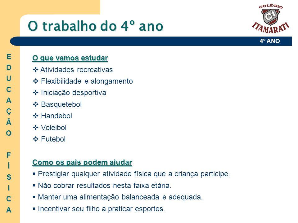 4º ANO O que vamos estudar Atividades recreativas Flexibilidade e alongamento Iniciação desportiva Basquetebol Handebol Voleibol Futebol Como os pais