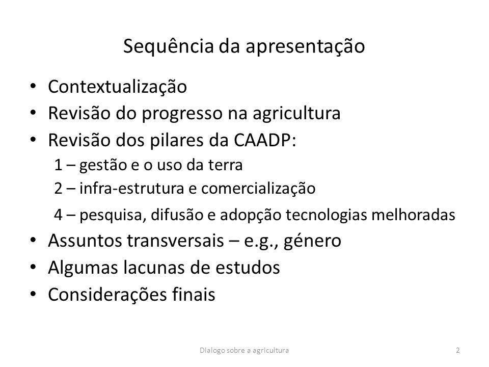 Sequência da apresentação Contextualização Revisão do progresso na agricultura Revisão dos pilares da CAADP: 1 – gestão e o uso da terra 2 – infra-est