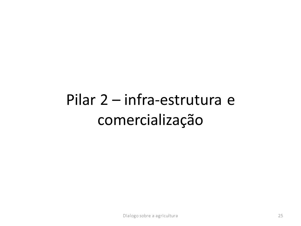 Pilar 2 – infra-estrutura e comercialização 25Dialogo sobre a agricultura