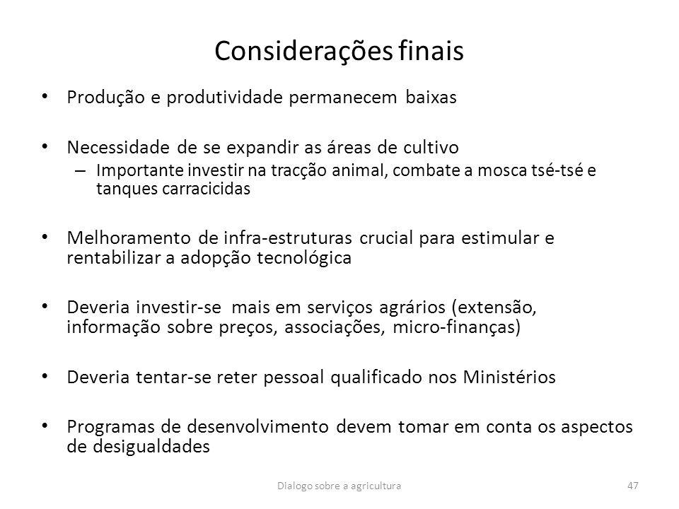 Considerações finais Produção e produtividade permanecem baixas Necessidade de se expandir as áreas de cultivo – Importante investir na tracção animal
