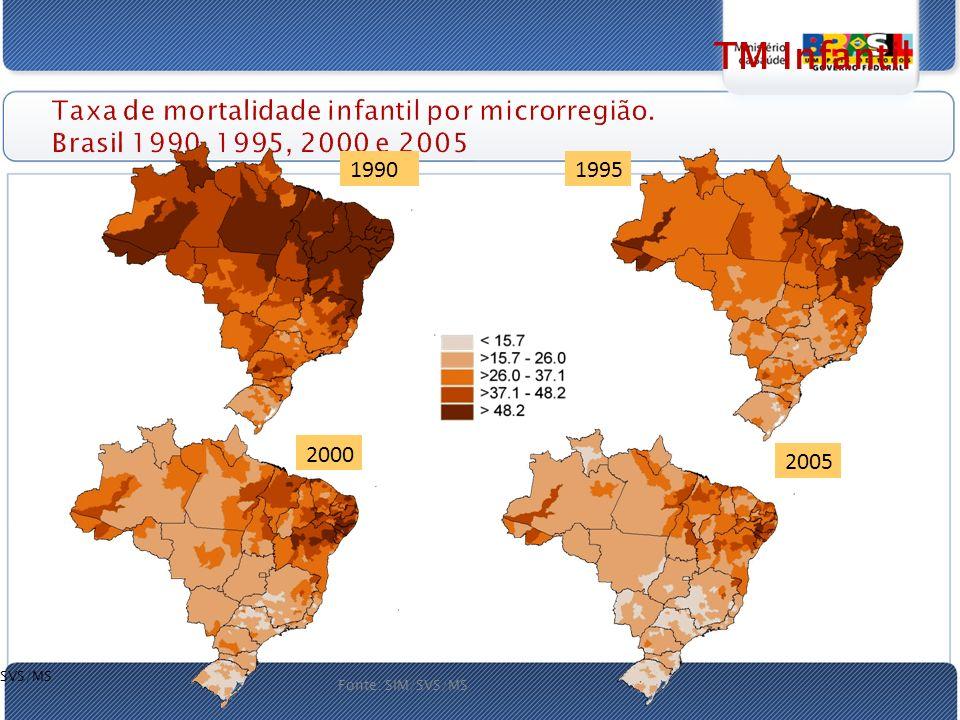 Taxa de mortalidade infantil por microrregião.