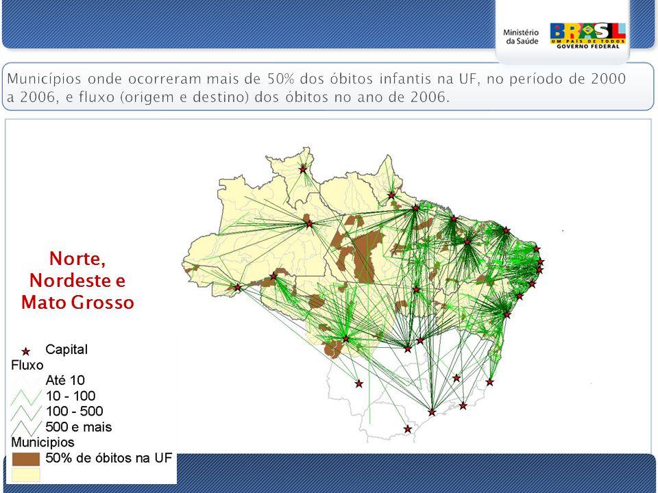 Municípios onde ocorreram mais de 50% dos óbitos infantis na UF, no período de 2000 a 2006, e fluxo (origem e destino) dos óbitos no ano de 2006.
