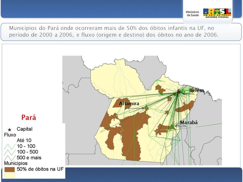 Municípios do Pará onde ocorreram mais de 50% dos óbitos infantis na UF, no período de 2000 a 2006, e fluxo (origem e destino) dos óbitos no ano de 2006.