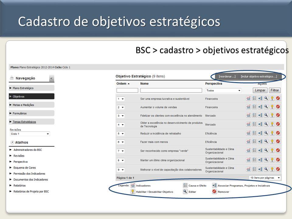 Cadastro de objetivos estratégicos BSC > cadastro > objetivos estratégicos