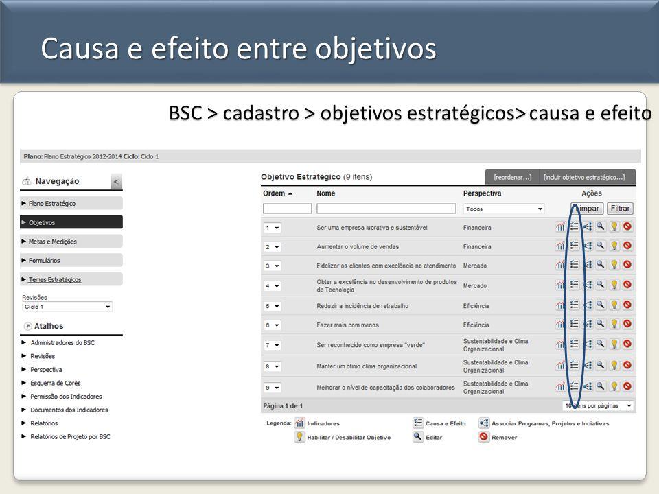 Causa e efeito entre objetivos BSC > cadastro > objetivos estratégicos> causa e efeito