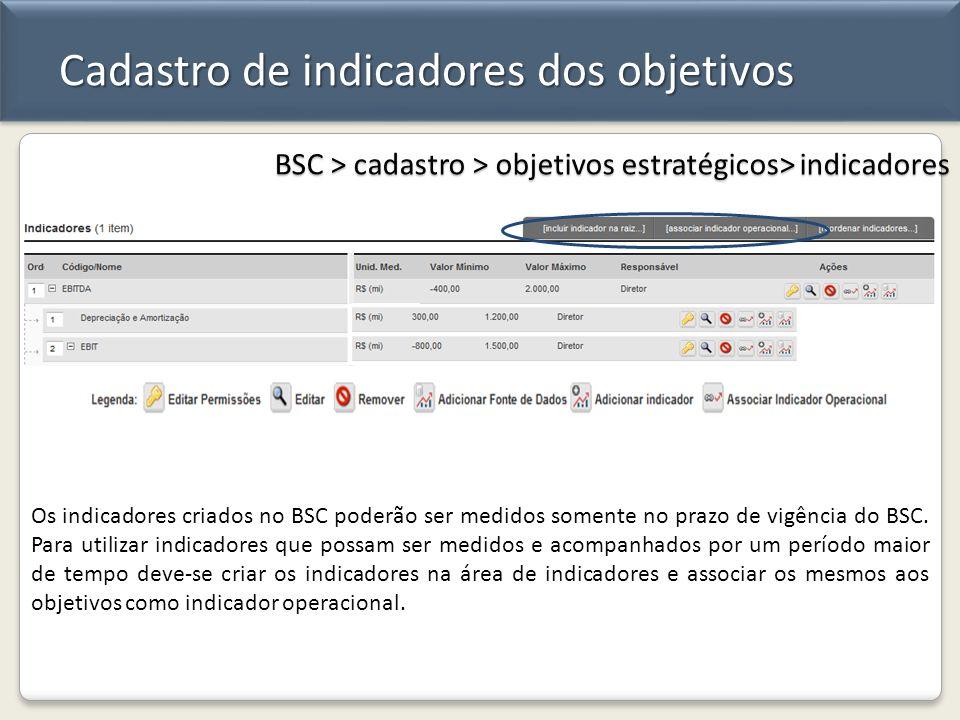 Cadastro de indicadores dos objetivos BSC > cadastro > objetivos estratégicos> indicadores Os indicadores criados no BSC poderão ser medidos somente n