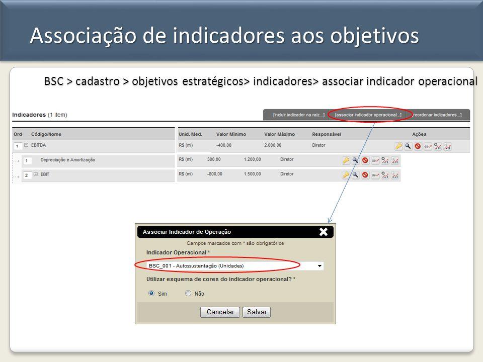 Associação de indicadores aos objetivos BSC > cadastro > objetivos estratégicos> indicadores> associar indicador operacional