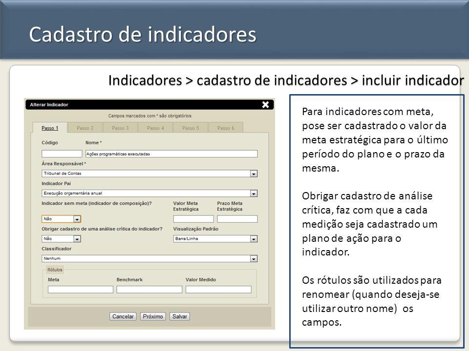 Cadastro de indicadores Indicadores > cadastro de indicadores > incluir indicador Para indicadores com meta, pose ser cadastrado o valor da meta estra