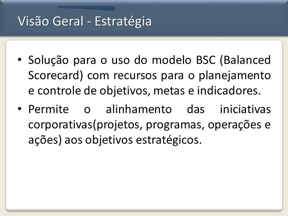 Visão Geral - Estratégia Solução para o uso do modelo BSC (Balanced Scorecard) com recursos para o planejamento e controle de objetivos, metas e indic