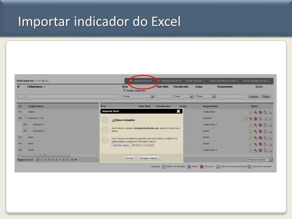 Importar indicador do Excel
