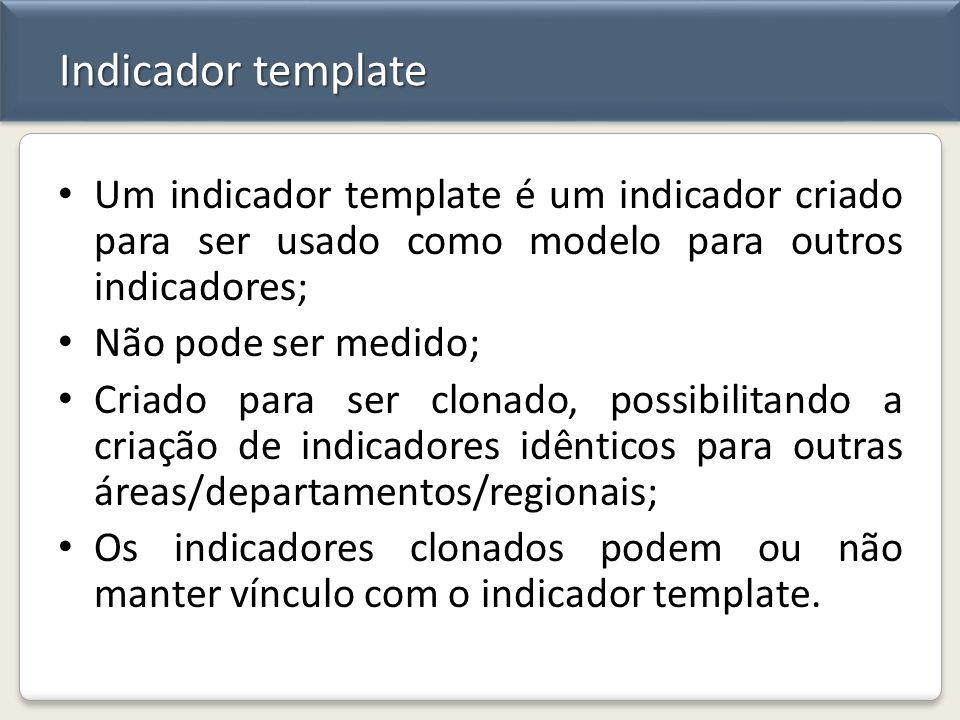 Indicador template Um indicador template é um indicador criado para ser usado como modelo para outros indicadores; Não pode ser medido; Criado para se