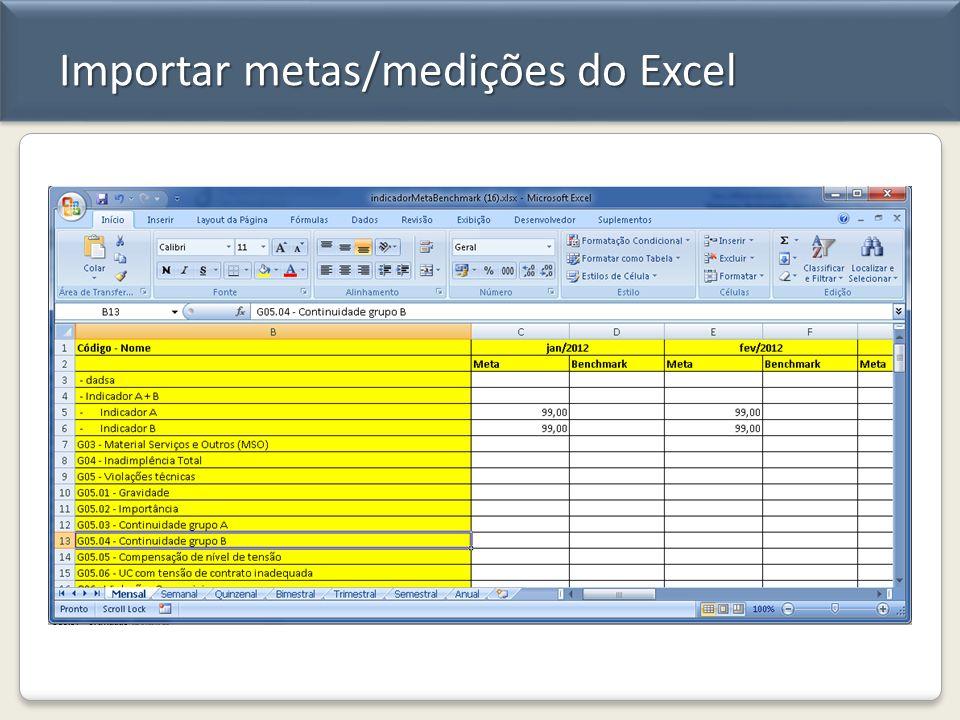 Importar metas/medições do Excel