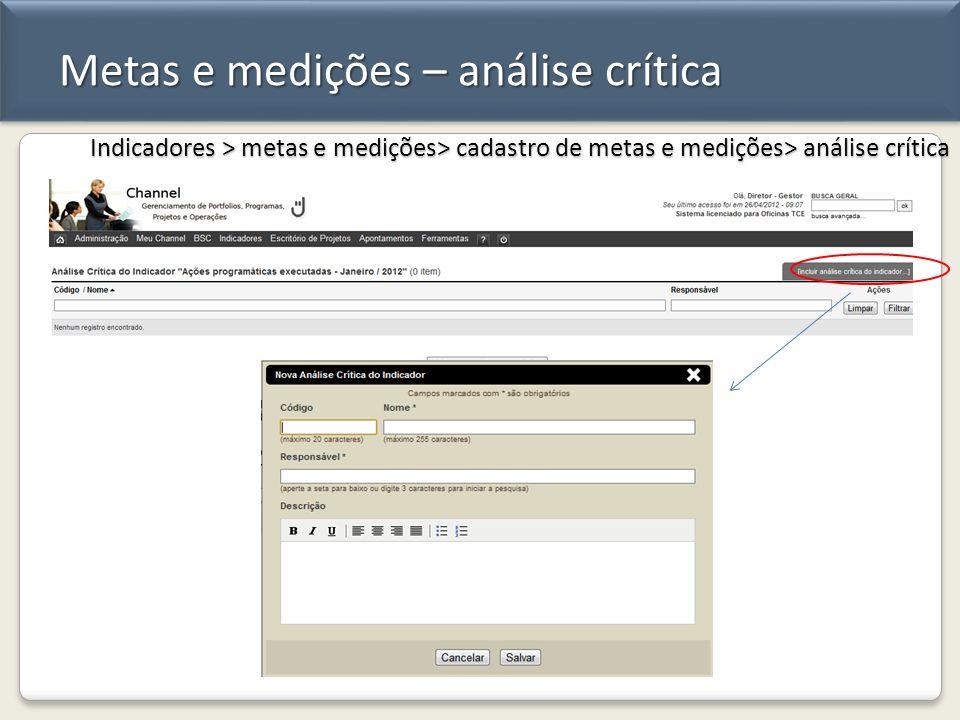 Metas e medições – análise crítica Indicadores > metas e medições> cadastro de metas e medições> análise crítica