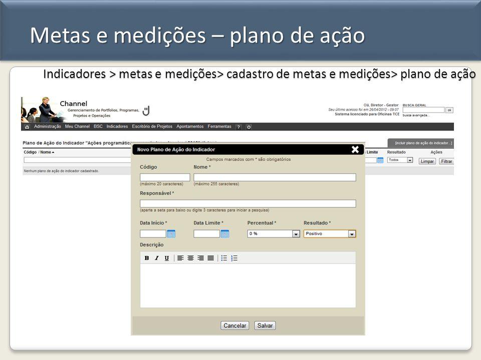 Metas e medições – plano de ação Indicadores > metas e medições> cadastro de metas e medições> plano de ação