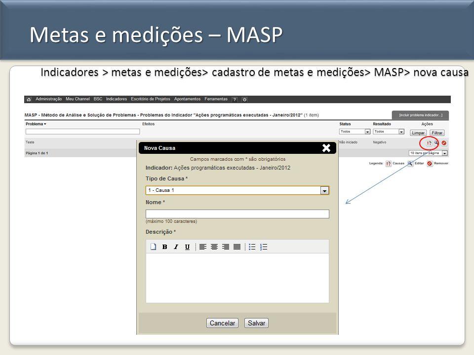 Metas e medições – MASP Indicadores > metas e medições> cadastro de metas e medições> MASP> nova causa