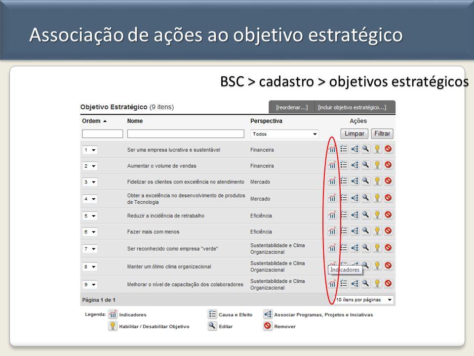 Associação de ações ao objetivo estratégico BSC > cadastro > objetivos estratégicos