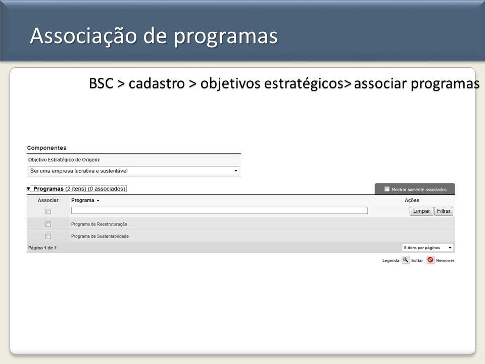 Associação de programas BSC > cadastro > objetivos estratégicos> associar programas