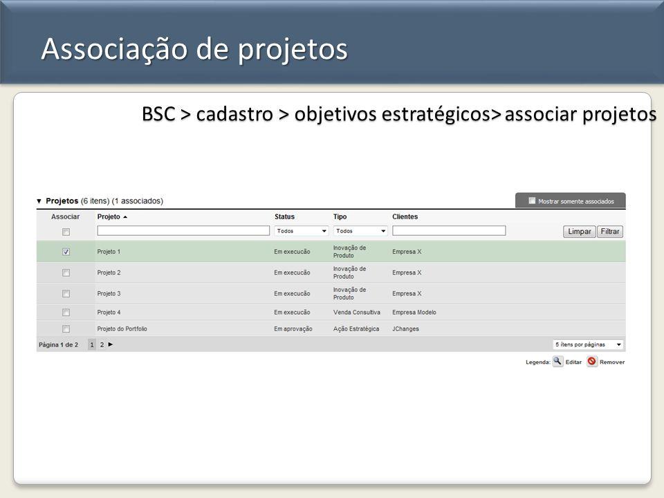 Associação de projetos BSC > cadastro > objetivos estratégicos> associar projetos