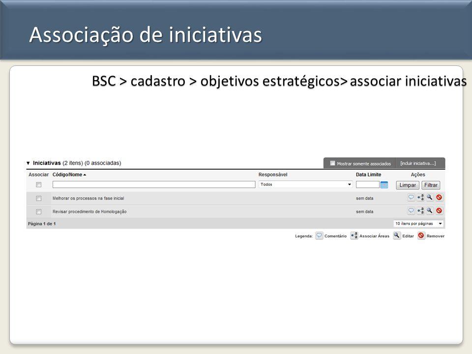 Associação de iniciativas BSC > cadastro > objetivos estratégicos> associar iniciativas