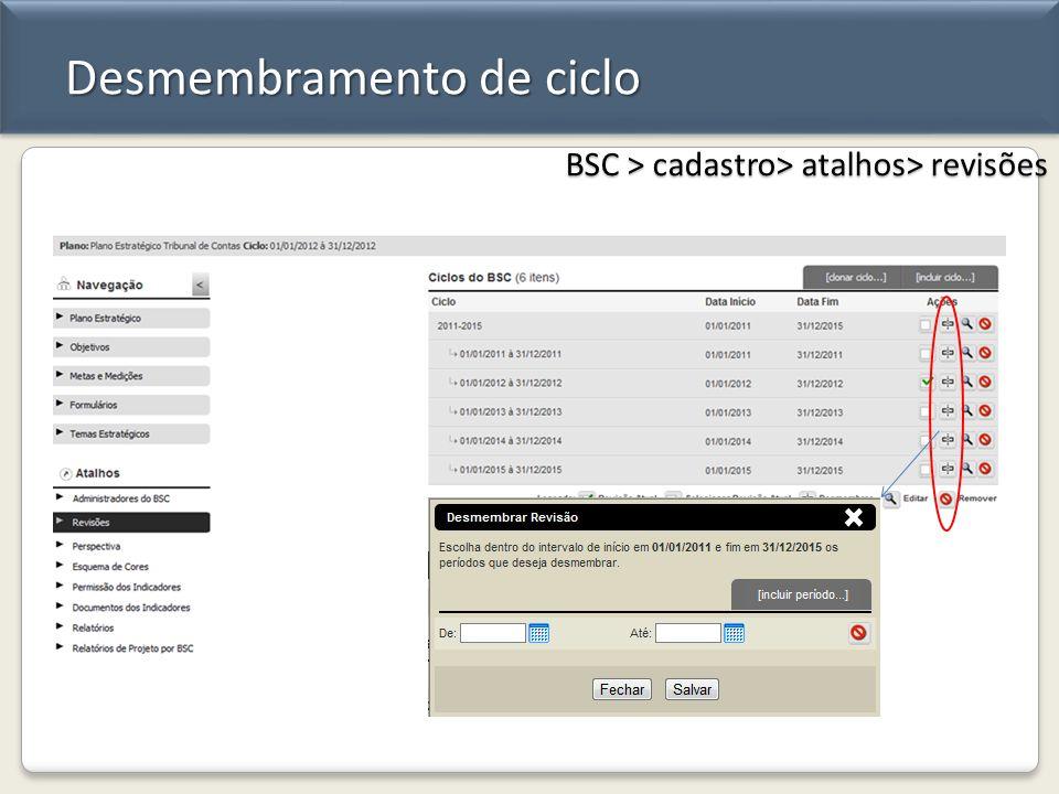 Desmembramento de ciclo BSC > cadastro> atalhos> revisões