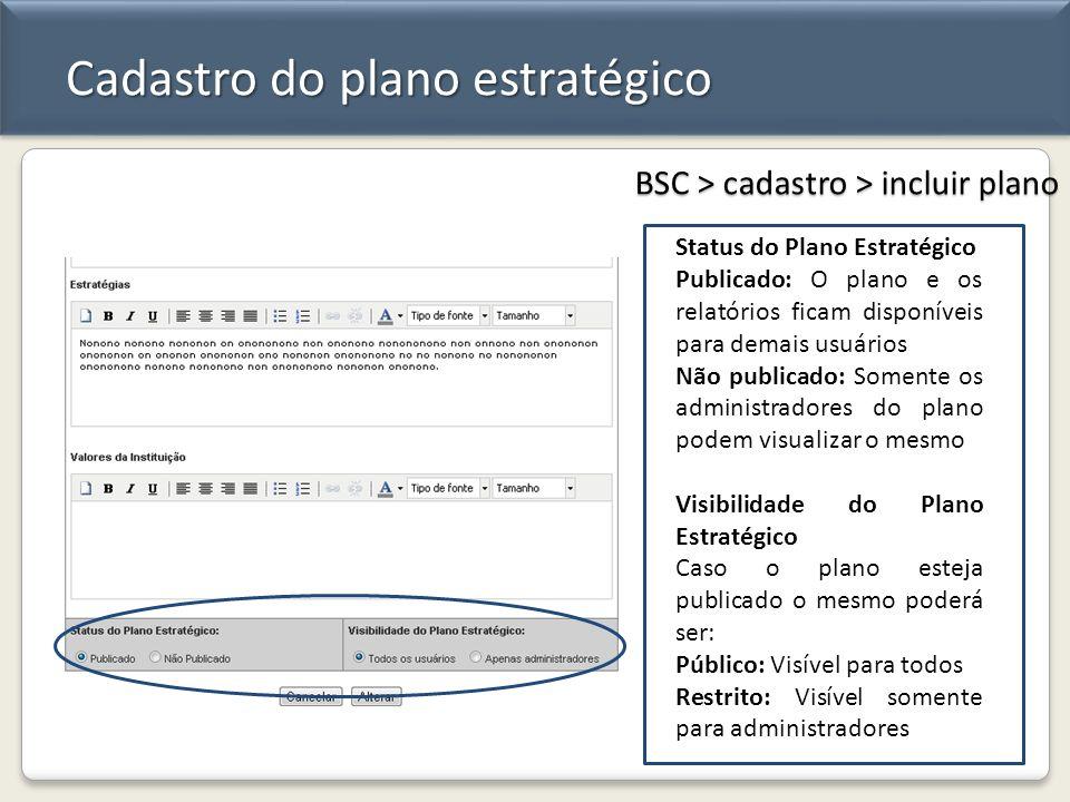 Cadastro do plano estratégico BSC > cadastro > incluir plano Status do Plano Estratégico Publicado: O plano e os relatórios ficam disponíveis para dem