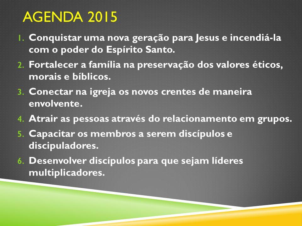 1. Conquistar uma nova geração para Jesus e incendiá-la com o poder do Espírito Santo. 2. Fortalecer a família na preservação dos valores éticos, mora