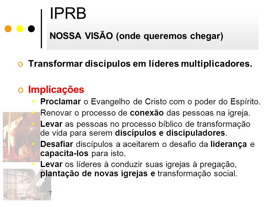 IPRB NOSSA VISÃO (onde queremos chegar) oTransformar discípulos em líderes multiplicadores. oImplicações Proclamar o Evangelho de Cristo com o poder d