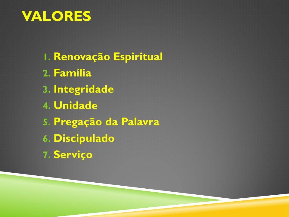 1. Renovação Espiritual 2. Família 3. Integridade 4. Unidade 5. Pregação da Palavra 6. Discipulado 7. Serviço VALORES