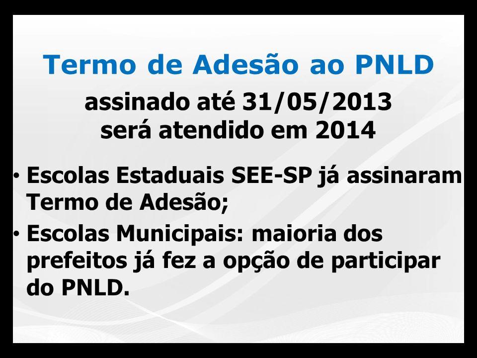 Termo de Adesão ao PNLD Escolas Estaduais SEE-SP já assinaram Termo de Adesão; Escolas Municipais: maioria dos prefeitos já fez a opção de participar