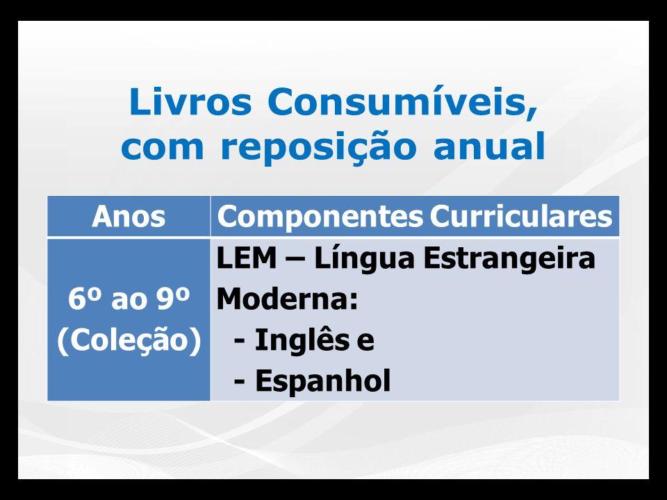 Livros Consumíveis, com reposição anual AnosComponentes Curriculares 6º ao 9º (Coleção) LEM – Língua Estrangeira Moderna: - Inglês e - Espanhol