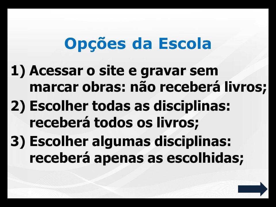 1)Acessar o site e gravar sem marcar obras: não receberá livros; 2)Escolher todas as disciplinas: receberá todos os livros; 3)Escolher algumas discipl