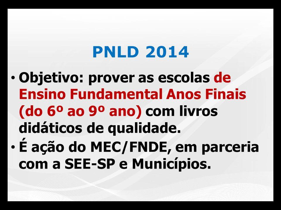 PNLD 2014 Objetivo: prover as escolas de Ensino Fundamental Anos Finais (do 6º ao 9º ano) com livros didáticos de qualidade. É ação do MEC/FNDE, em pa