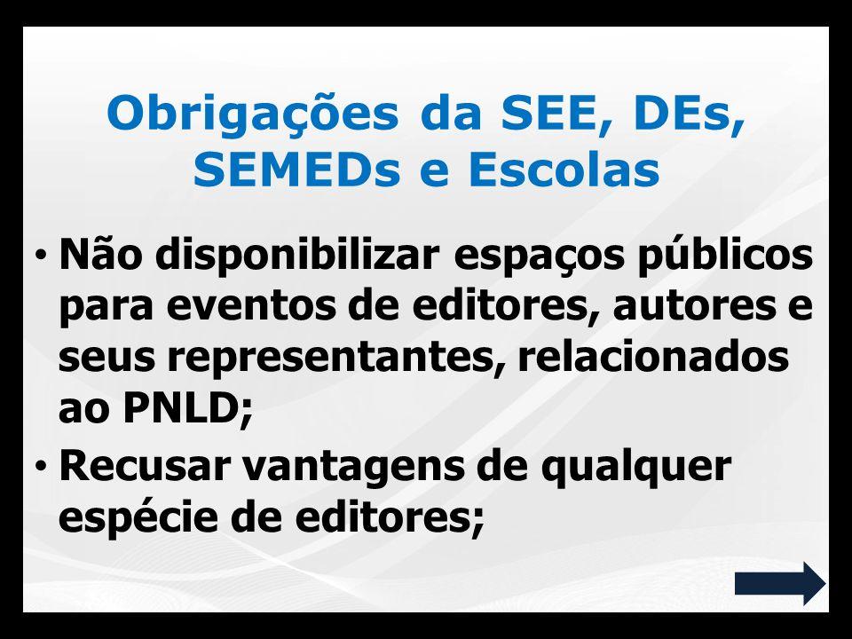 Não disponibilizar espaços públicos para eventos de editores, autores e seus representantes, relacionados ao PNLD; Recusar vantagens de qualquer espéc